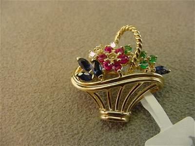 8227: 14K GOLD BLUE SAPH,RUBY,EMERALD FLOWER BASKET PIN