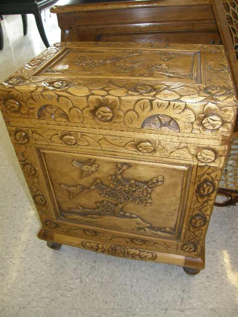 1015: ORIENTAL CARVED WOOD LIFT TOP CABINET
