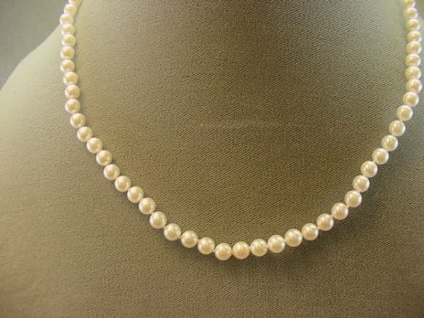 """2013: 18"""" STRAND CULTURED PEARLS -14K GOLD CLASP"""