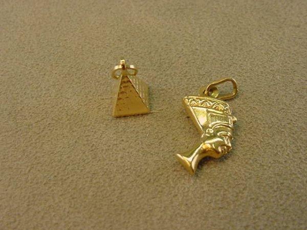 2022: 2 14K GOLD CHARMS--PYRAMID & NEPHRETITE -LOT