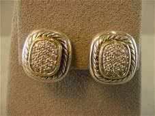 2242 DAVID YURMAN STERLING  18K DIAMOND EARRINGS