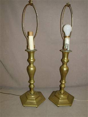 PAIR OF HEAVY BRASS LAMPS