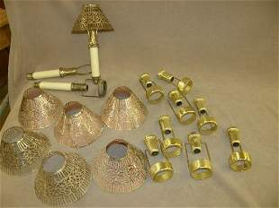 BOX OF CANDLES AND SHADES FOR CANDLESTICKS