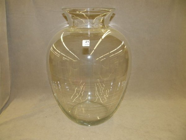 3021: LARGE GLASS VASE -CHIP TO RIM