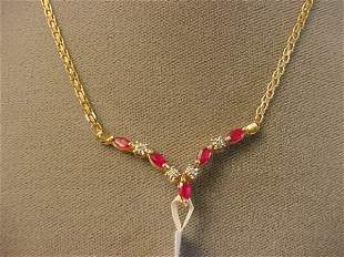 10K GOLD RUBY AND DIAMOND NECKLACE
