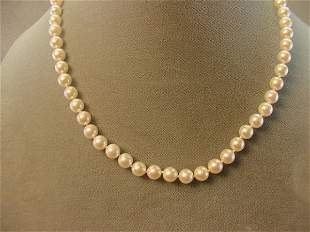 """18"""" STRAND PEARLS -14K GOLD CLASP"""