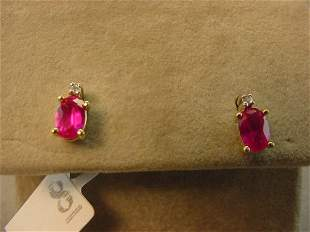10K GOLD RED STONE AND DIAMOND EARRINGS