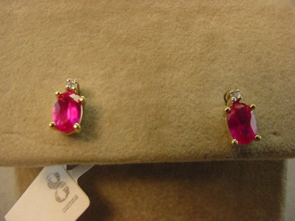 5008: 10K GOLD RED STONE AND DIAMOND EARRINGS