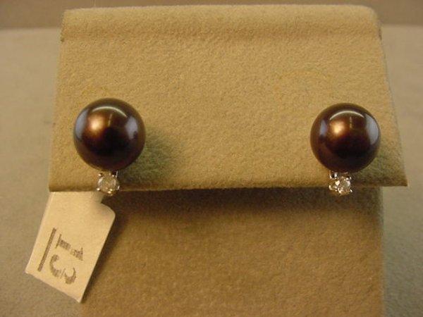 5013: 14K WHITE GOLD PEARL AND DIAMOND EARRINGS