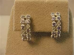 10K WHITE GOLD DIAMOND AND TANZANITE EARRINGS