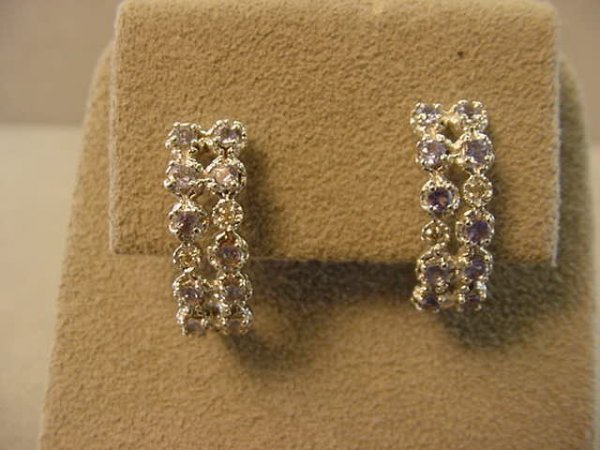 5017: 10K WHITE GOLD DIAMOND AND TANZANITE EARRINGS