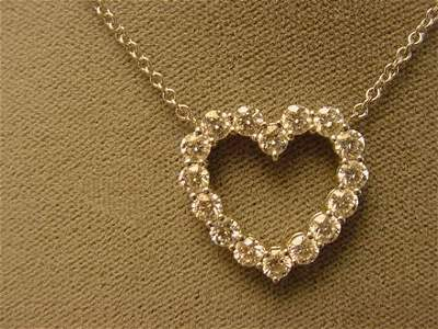 5406: PLATINUM DIAMOND HEART NECKLACE