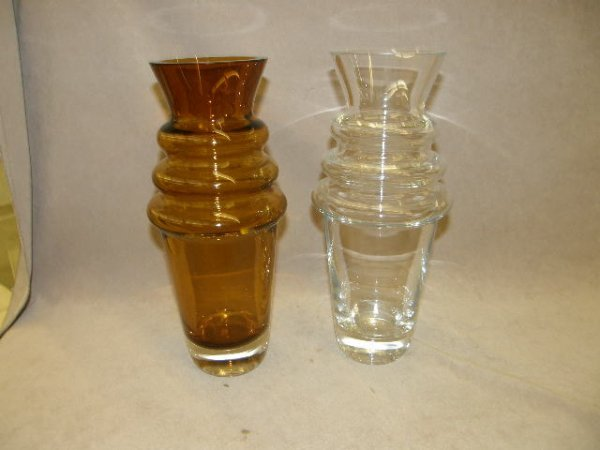 6081: 2 MARQUIS BY WATERFORD VASES -1 AMBER, 1 CLEAR