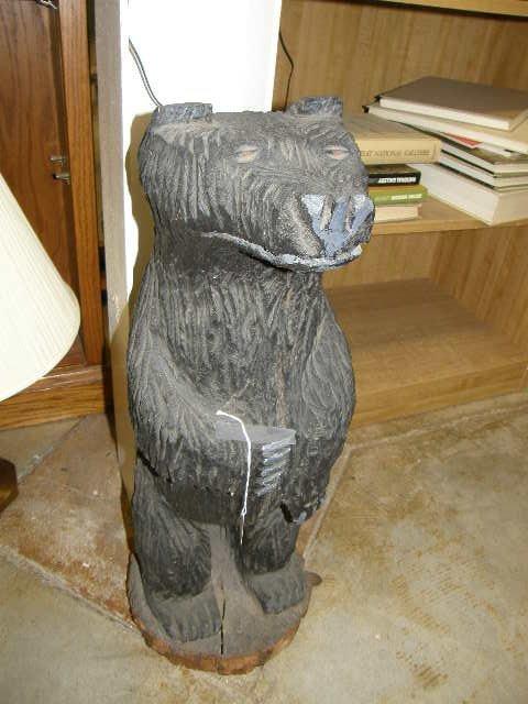 6009: CARVED WOOD BLACK BEAR