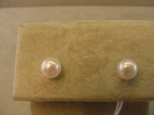 7623: 14K WHITE GOLD PEARL EARRINGS