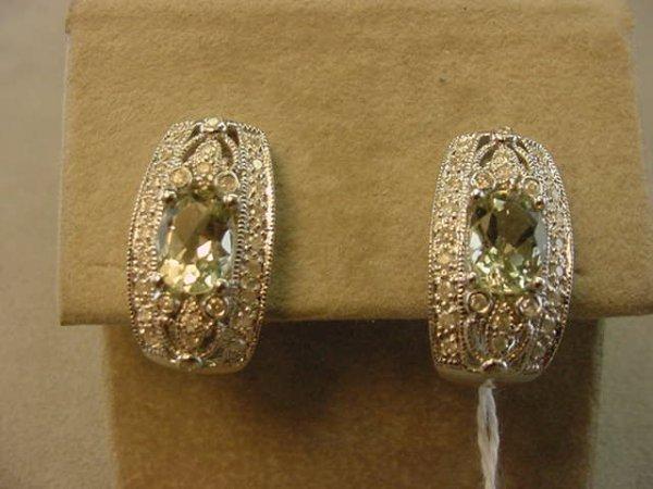 7653: 14K WHITE GOLD GREEN QUARTZ AND DIAMOND EARRINGS