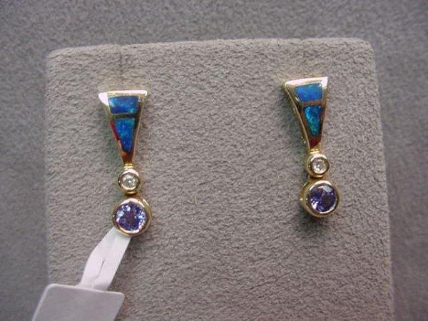 1017: PAIR 14K EARRINGS - TANZANITE, DIAMOND, OPALS