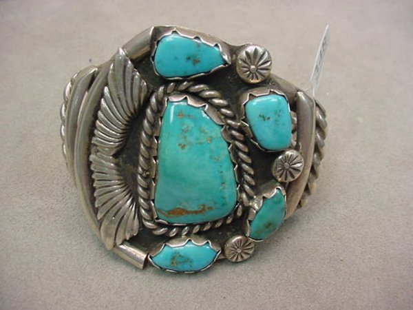 1348: INDIAN SILVER TURQUOISE CUFF BRACELET