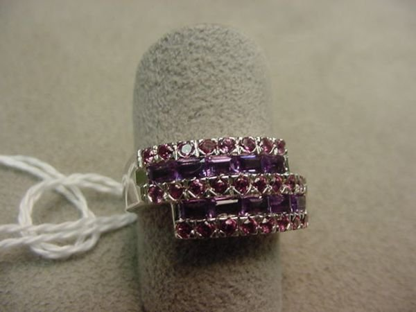 2147: 10K WHITE GOLD AMETHYST AND DIAMOND RING