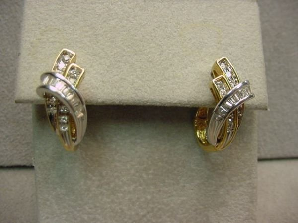 2149: PAIR 10K GOLD DIAMOND EARRINGS