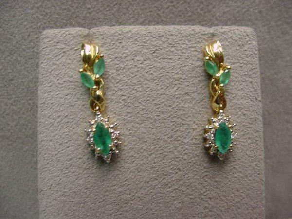3002: PAIR 14K GOLD EMERALD AND DIAMOND EARRINGS