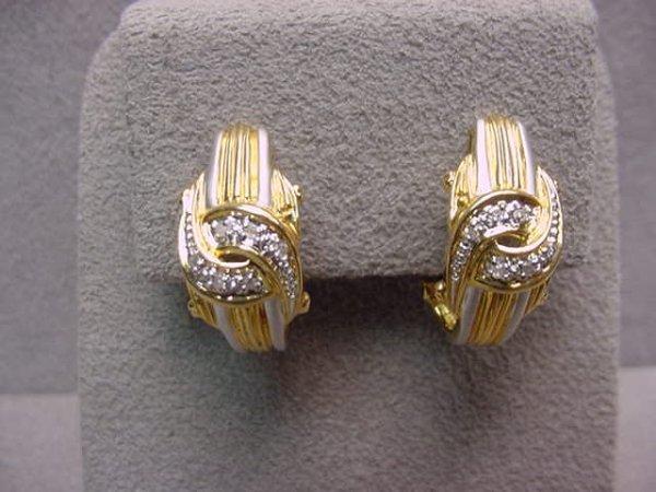 3003: PAIR 18K YELLOW AND WHITE GOLD DIAMOND EARRINGS