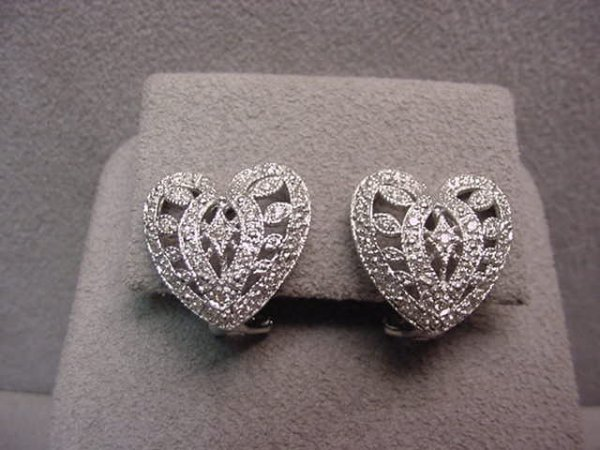 3012: PAIR 14K WHITE GOLD DIAMOND HEART EARRINGS
