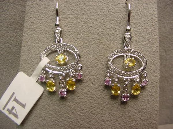 3014: PR 18K WHITE GOLD PINK & YELLOW SAPPHIRE EARRINGS