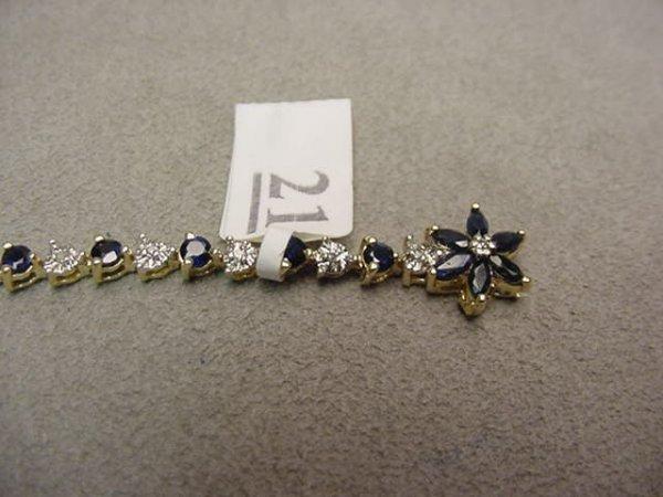 3021: 10K GOLD BLUE SAPPHIRE AND DIAMOND BRACELET
