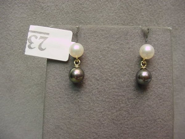 3023: PAIR 14K GOLD BLACK AND WHITE PEARL EARRINGS
