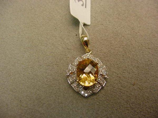 3030: 14K GOLD CITRINE AND DIAMOND PENDANT