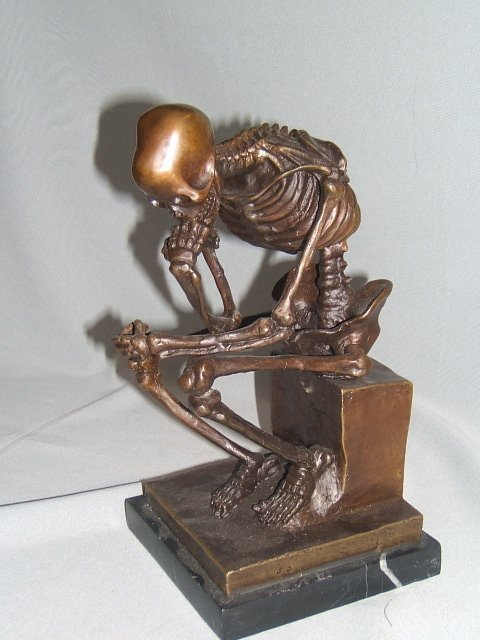 "4073: BRONZE ""SKELETON THINKER"" ON MARBLE BASE"
