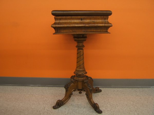 4074: EARLY CARVED WALNUT LIFT TOP SEWING STAND