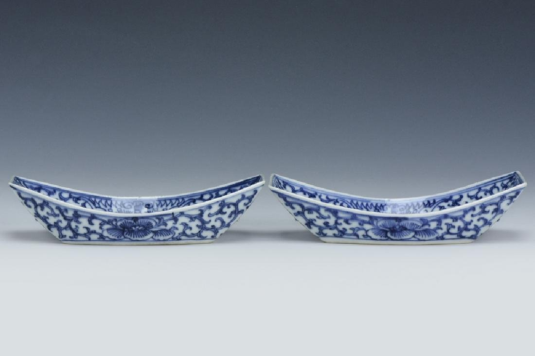 Pair of Blue White Dishes,Jiaqing Mark and Period