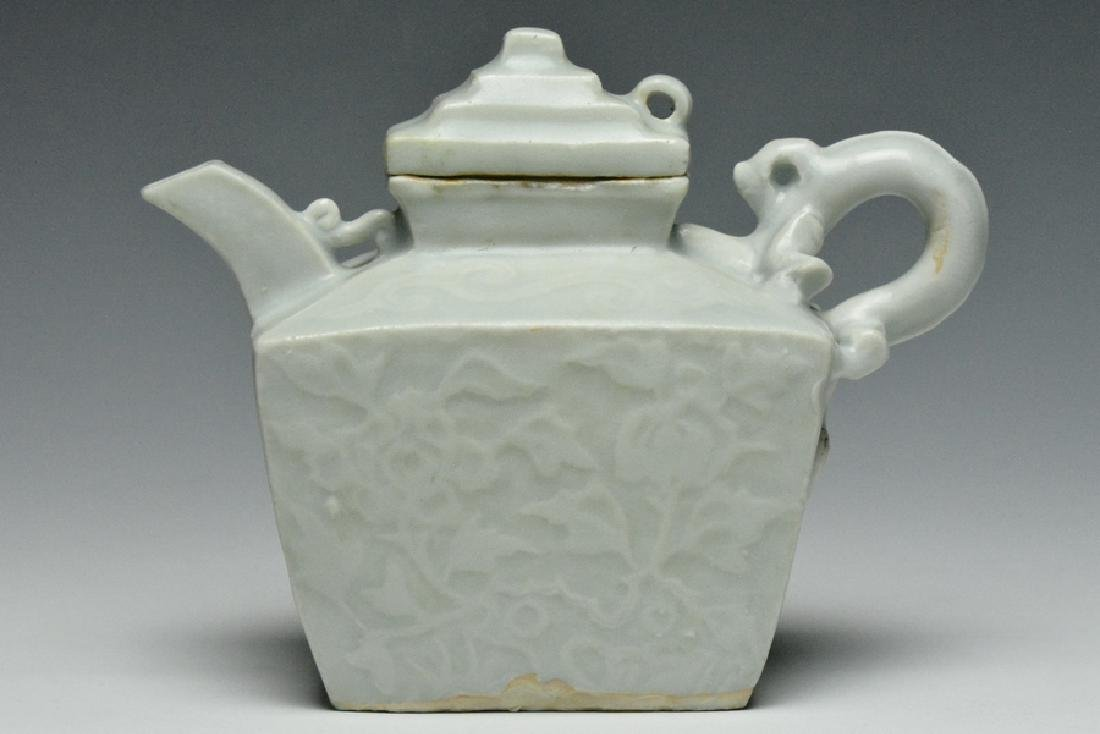 A Qingbai Ewer and Cover, Yuan Dynasty