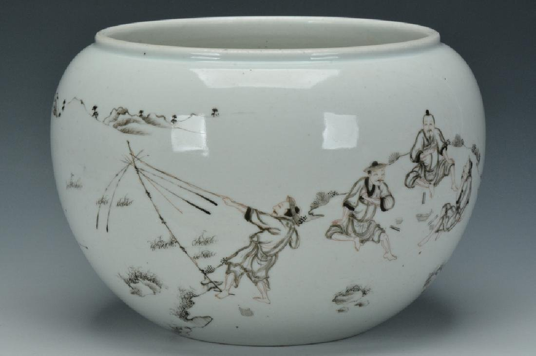 A Grisaille-Decorated Brush Washer, Yongzheng - 3