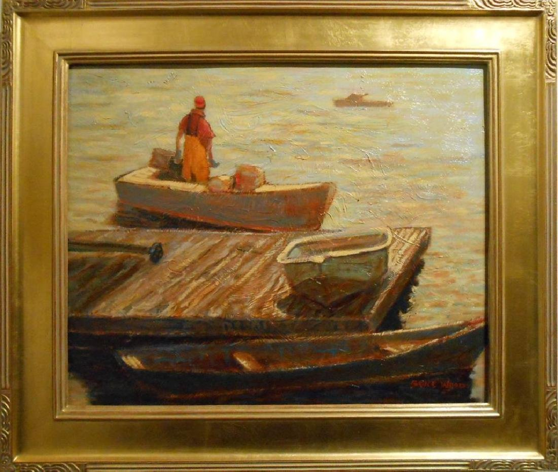 Contemporary Marine Oil Painting Of Maine Lobster Man