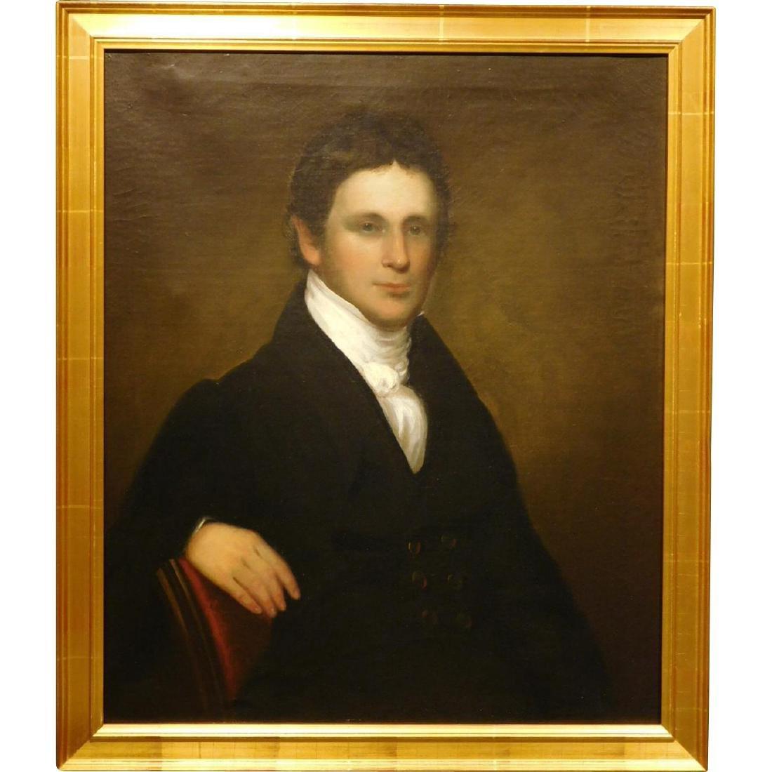 Antique Oil Portrait of a Handsome Young Man, c.1820