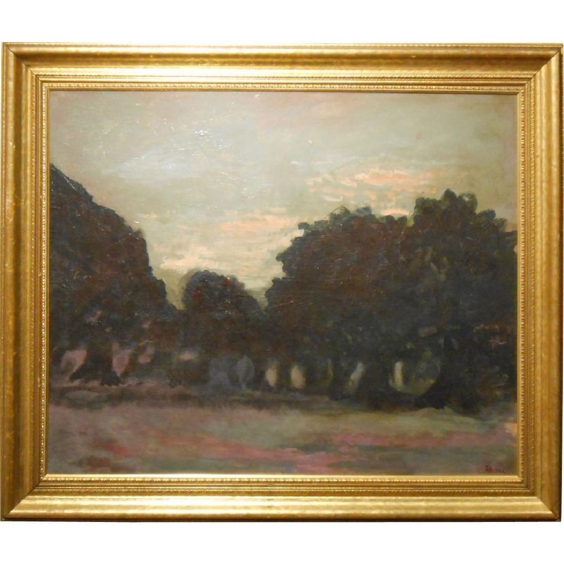 Antique Tonalist Oil Landscape Signed Henri