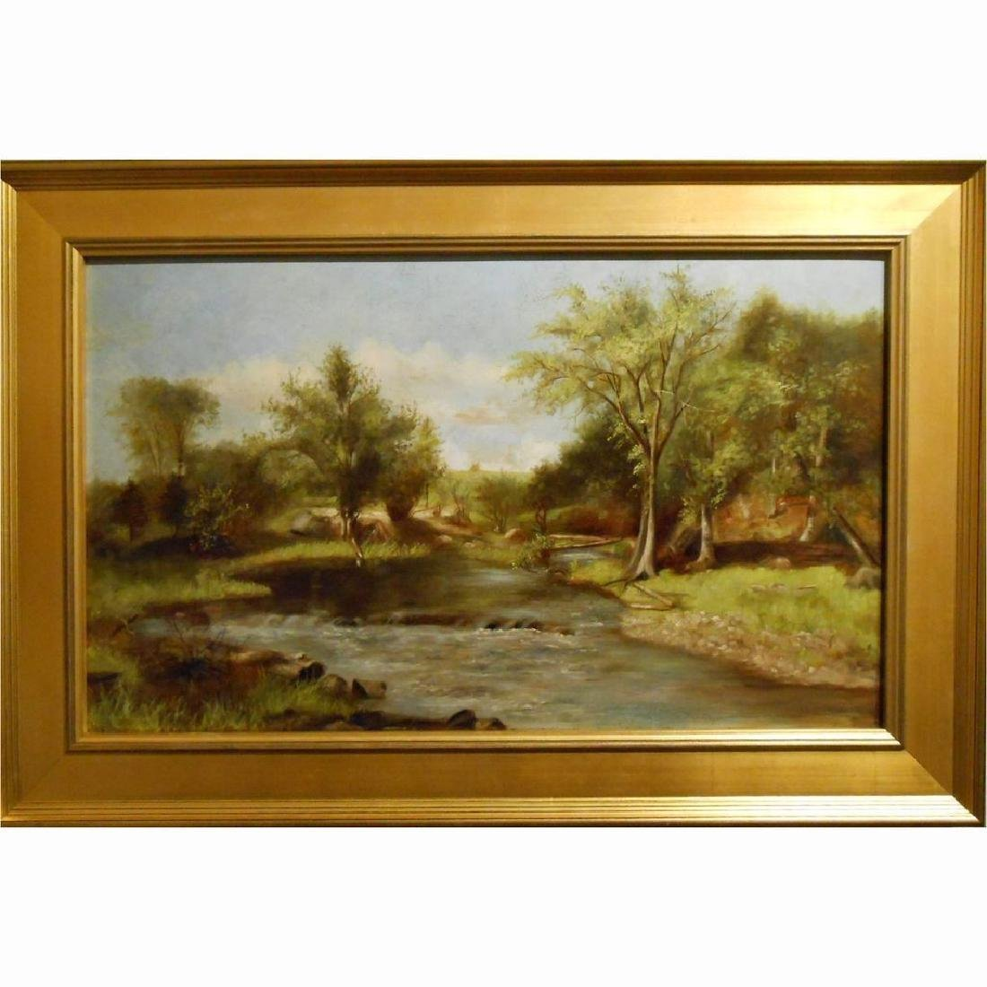 Antique Oil Landscape With Stream