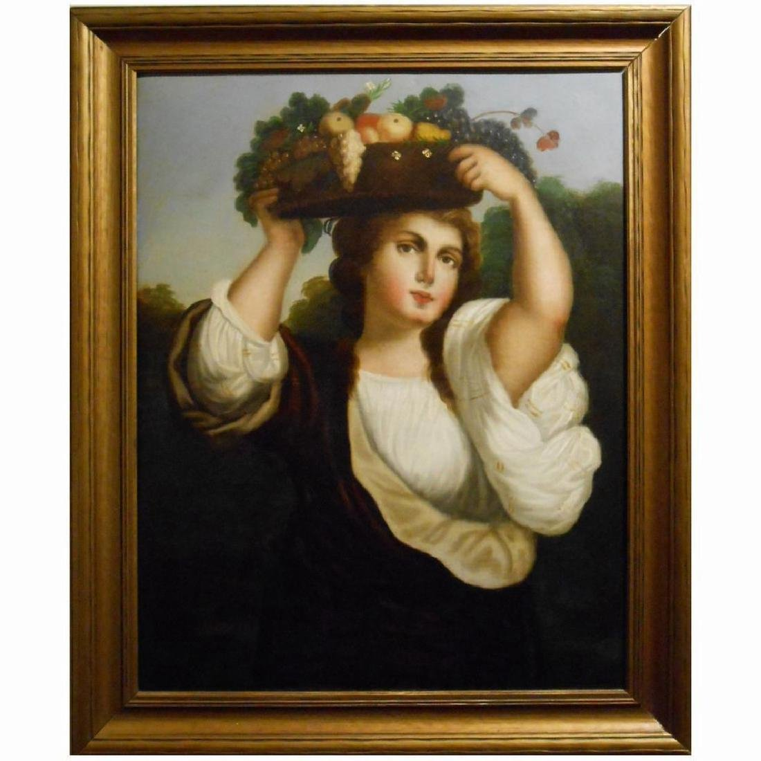Antique c.1800 Italian Oil Painting Of Woman
