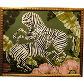 Art Deco Painting of Zebras