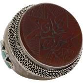 Carnelian Intaglio Arabic Ring  Afghan Silver Kuchi