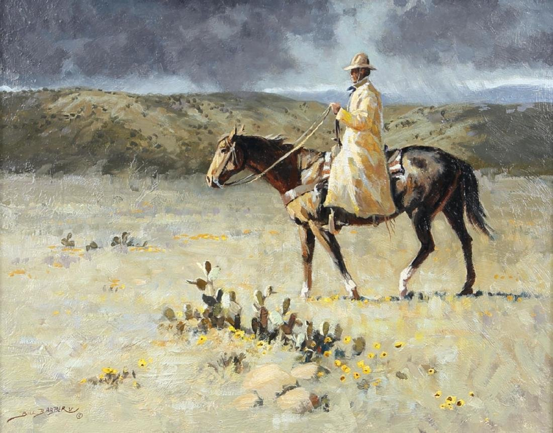 American West Artist Bill Barber Oil On Board