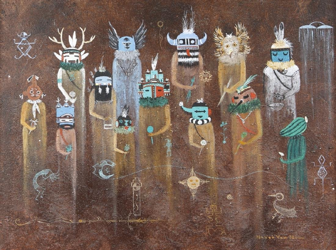 Native American Indian tribal art Kachina Dancers Oil