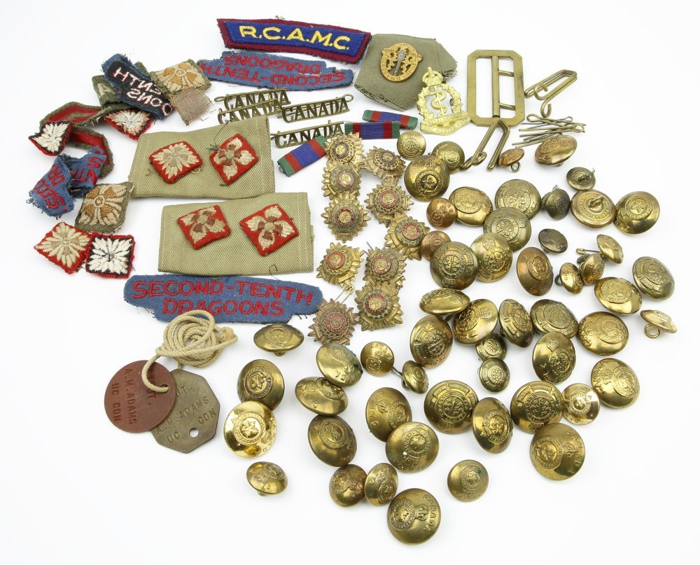 World War II Military Canadian Buttons, Ribbons &  Belt