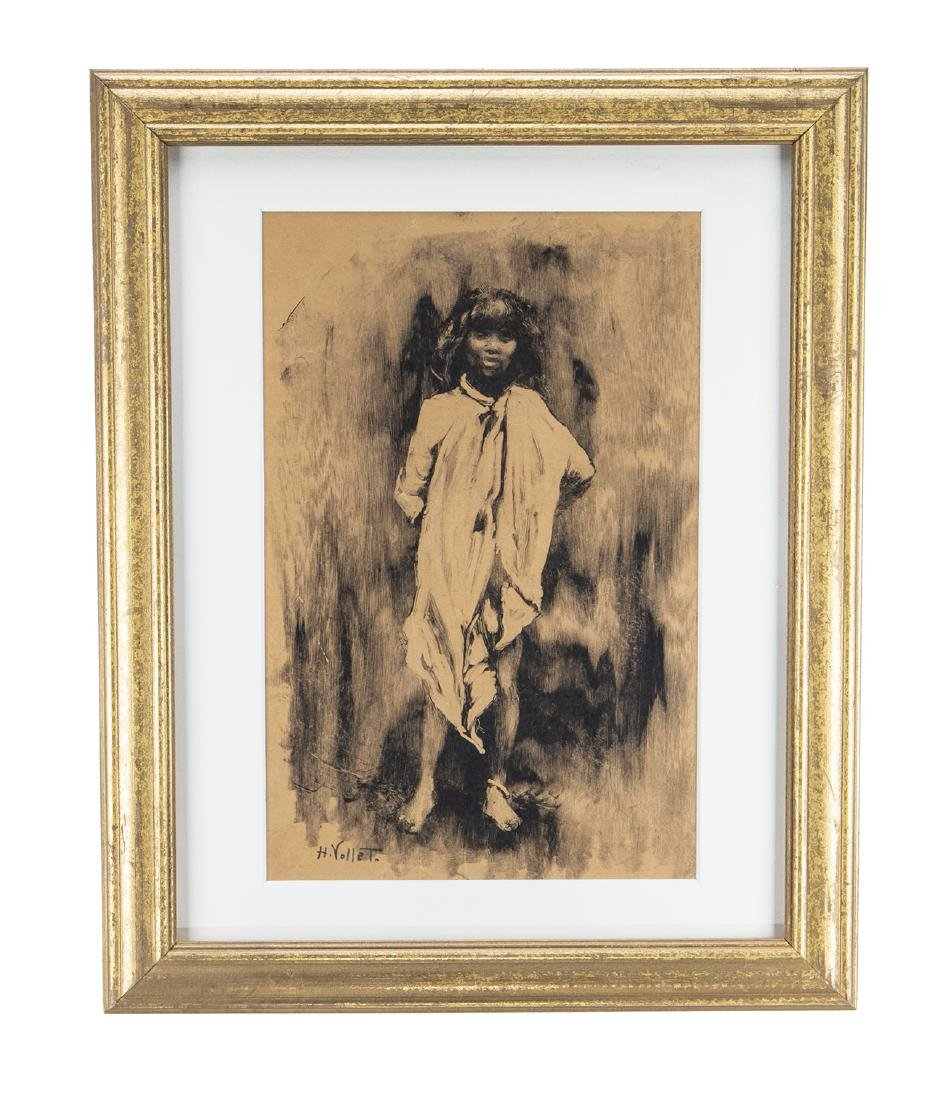 Henri Emile Vollet Signed Watercolor and Ink on Paper