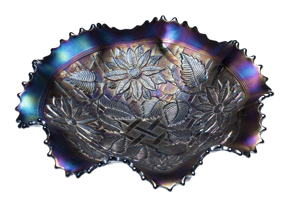 Northwood Electric Blue Poinsettia Latticed Ruffle Bowl