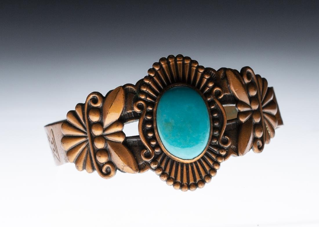 Native American Copper Turquoise Bracelet
