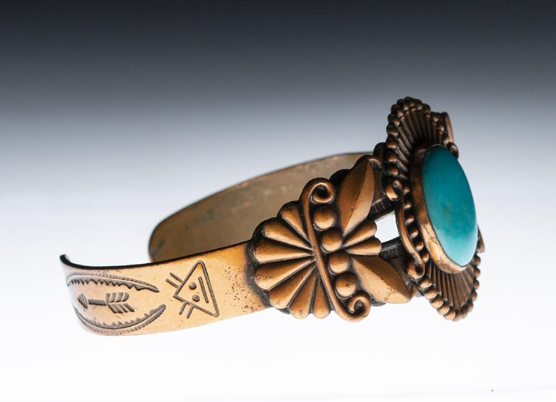 Native American Copper Turquoise Bracelet - 2